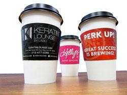 HotShot Coffee Sleeves - 3 Cups Keratin Lounge, Perk Up! Kelly's